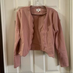 Have Light Pink Scalloped Edge Open Blazer Jacket